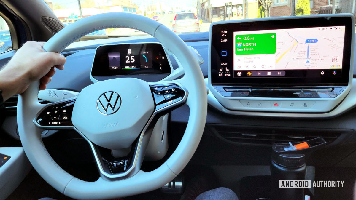 Android Auto in Volkswagen ID.4 Center Console Interaction with Drivers Console