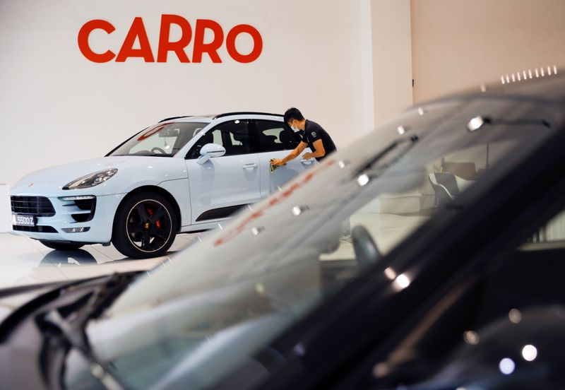 A view of the Carro signage at their showroom in Singapore
